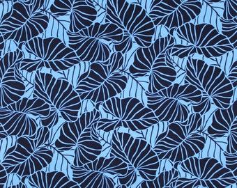 Hawaiian Leaf Print Knit Jersey Stretch Hawaiian Fabric | Blue