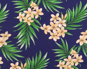 Plumeria All-over Non-Iron Fabric / Mask making-Navy PC058N