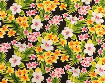 Small Hawaiian Flower Prints Fabric with Small Hibiscus & Plumeria - Hawaiian Cotton Print Fabric | Black C259BK