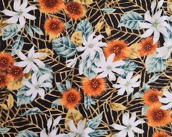 Misty Ohia Lehua and Tiare Hawaiian 100% Cotton Fabric-Orange C044O