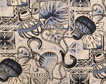 Hawaiian Shirt Cotton Fabric - Ipu Fish Hook Polynesian Tribal Print Fabric- Blue/Grey C251B