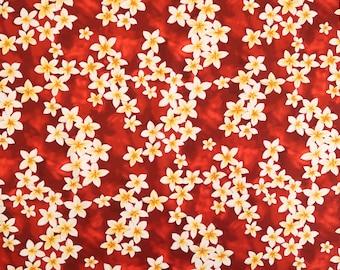 Red Plumeria  100% Cotton Hawaiian Fabric | Dark Red RC C003R