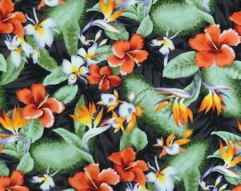 Hibiscus & Birds of Paradise Hawaiian Prints-Black C221BK