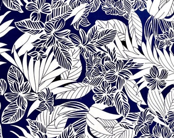 Navy and White Plumeria Flower Print Fabric - Ideal for Dress, Shirts, Interior Decoration-Cotton C213NV