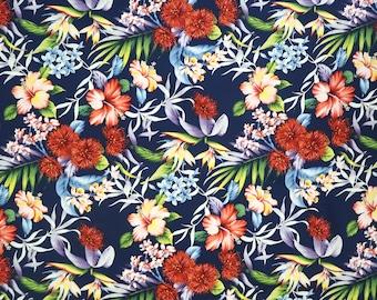 Red Ohia Lehua Flower Print Hawaiian Fabric - Hibiscus and Tropical Floral Prints -100% Cotton Hawaiian Fabric - Navy C153N
