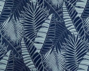 Navy Palm Leaf Hawaiian Print Fabric - 100% Cotton - Navy C092N