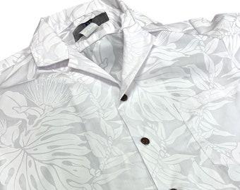 White Hawaiian Shirt for Wedding and Honeymoon | Ohia Lehua Flower
