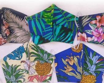 5pc.set Hawaiian Print Reusable Mask-3 layers M173