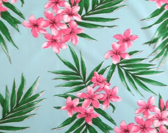 Lightweight Hawaiian Print Fabric - Plumeria All-over Non-Iron Fabric / Mask making-Seagreen PC056T