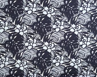 Modern Floral Print Cotton Fabric - Black Flower & Grey C120BGR