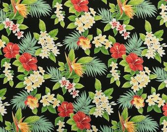 Paradise Hibiscus & Plumeria Hawaiian Fabric - Black C112BK