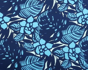 Modern Floral Fabric 100% Cotton   Blue & Black C122B
