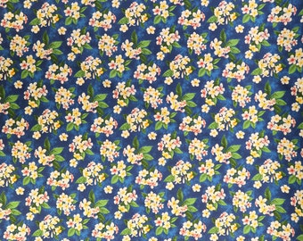 Plumeria Bunch Cotton Hawaiian Fabric|Blue C260B