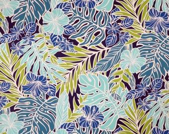 Colorful Hawaiian Print Fabric-Navy PC063N