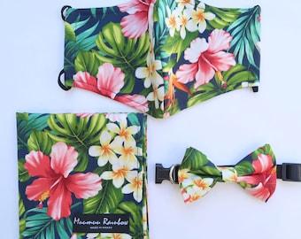 Hibiscus Print Hawaiian Print Face Mask   Navy