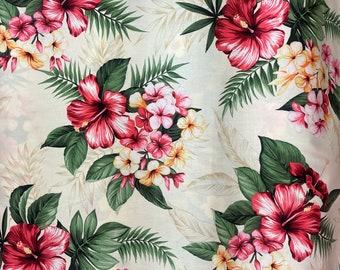 Beige Hibiscus Floral Hawaiian Fabric   100% Cotton C264W