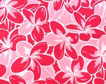 Plumeria Bright Pink Tropical Hawaiian Print Fabric-Pink PC157P