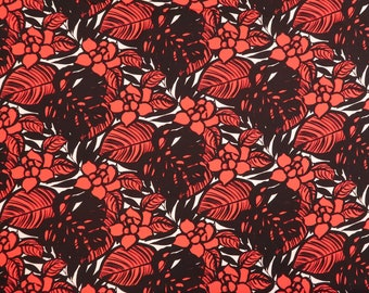 Modern Floral Fabric 100% Cotton | Red & Black C117R