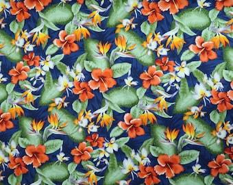 Hibiscus & Birds of Paradise Hawaiian Prints-Blue C223B