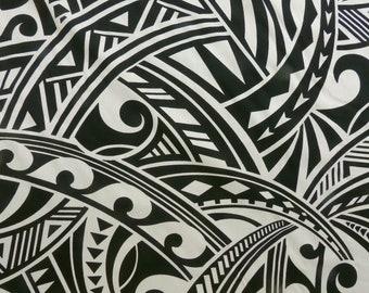 Polynesian Tapa Hawaiian Tribal Print Fabric - Rayon | Beige Tan