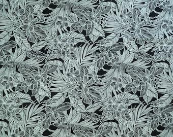 Modern Tropical Plumeria Flower Hawaiian Fabric | Black PC161BK