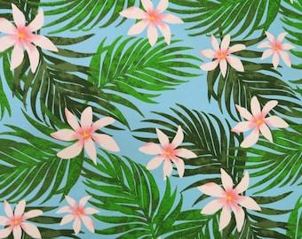 Pink Tiare All Over Hawaiian Fabric - Sky Blue PC101B