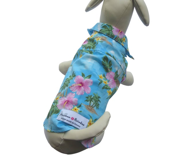 Featured listing image: Dog Shirt in Hawaiian Style | Diamond Head Hawaiian Scenic Print | Blue, Green