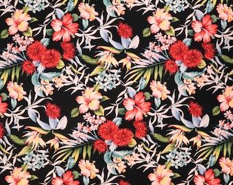 Red Ohia Lehua Flower Print Fabric - White Hibiscus and Red Flower Print 100% Cotton Fabric - Black C154BK
