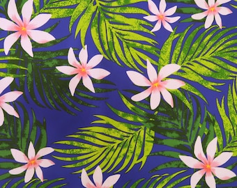 Pink Tiare All Over Hawaiian Fabric - Royal Blue PC100N