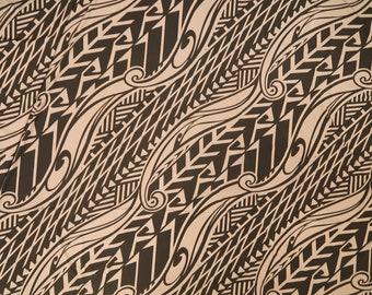 Hawaiian Polynesian Print Stretch Knit Jersey Fabric | Beige