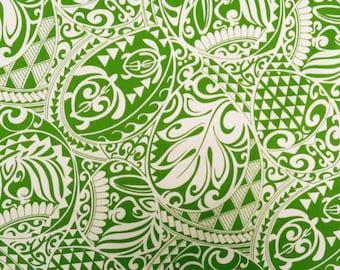 Polynesian Tribal Print Fabric - Tapa Turtle Print 100%  Cotton - C228GREEN