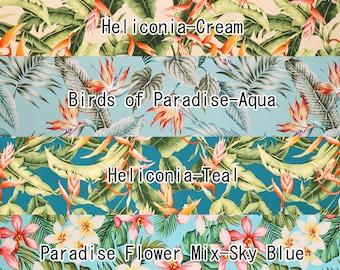 2 yd Light Color Heliconia Hawaiian Cotton Pre-cut Fabric Set-Cream/Blue/Teal/Sky Blue SET207