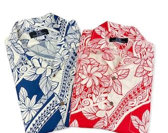 Polynesian Print Hawaiian Shirts | Red and Blue