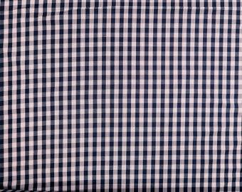 Hawaiian Retro Plaid Print Fabric Palaka  | 100% Cotton by yard | Navy C134N