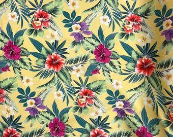 Yellow Hibiscus Floral Hawaiian Fabric | 100% Cotton C263Y