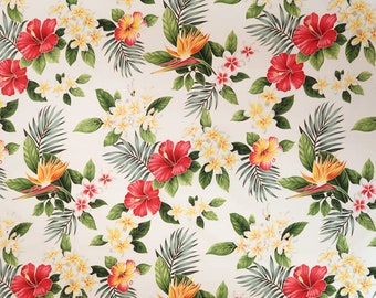 Paradise Hibiscus & Plumeria Hawaiian Fabric - White C113W