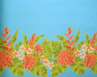 Heliconia Torch Ginger Hawaiian Fabric-Turquoise PC082B