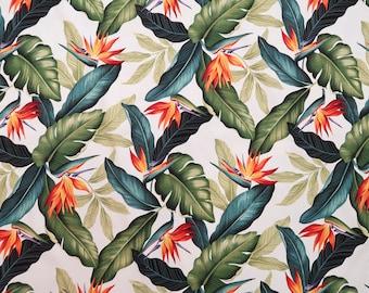 Orange Birds of Paradise Hawaiian Print 100% Cotton Fabric -White C018W