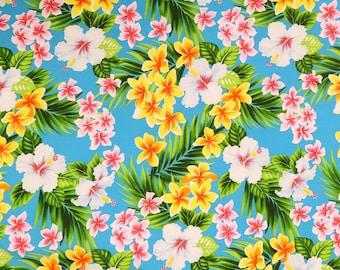 Small Floral Print Fabric - Hibiscus & Plumeria Hawaiian Print Fabric | Sky Blue C259B