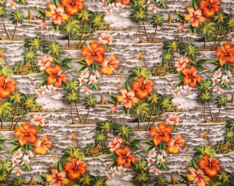 Hawaiian Vintage and Retro Fabric - Surfing and Waves Vintage Style Cotton Fabric | Grey