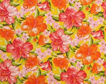 Orange Floral Print Fabric - Tropical Hibiscus  Flower Prints | Yellow Fabric C026Y