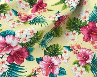 Hibiscus & Plumeria Hawaiian Print Fabric - 100% Cotton Fabric -Yellow C246Y