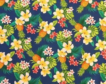 Yellow Pineapple and Plumeria Hawaiian Print Fabric | Navy C258N