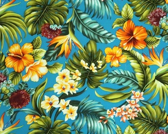 Hawaiian Floral Print Fabric - Hibiscus and Plumeria Flower Garden - Teal Green C225G