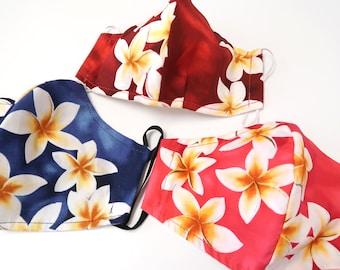 Plumeria Print Reusable Hawaiian Mask-3 layers M178
