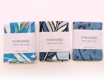 Blue Hawaiian Fabric Gift Wrap Furoshiki | Eco Wrapping Cloth | SMALL