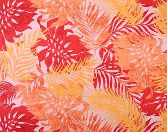 Palm Leaf and Monstera Layering Fabric-Orange PC096O