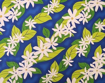 Tiare Floral Hawaiian Fabric | Blue PC099B
