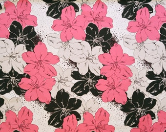 Large Pink and Black Flower Hawaiian Fabric-White PC054P