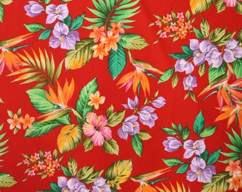 Orange Birds of Paradise with Purple Bougainvillea Hawaiian Print 100% Cotton Fabric -Red C015R
